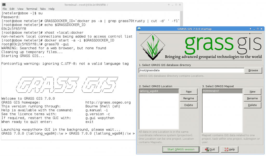 GRASS GIS 7 GUI in docker container