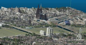 Cologne city shown as colorized 3D point cloud (data source: openNRW Germany)
